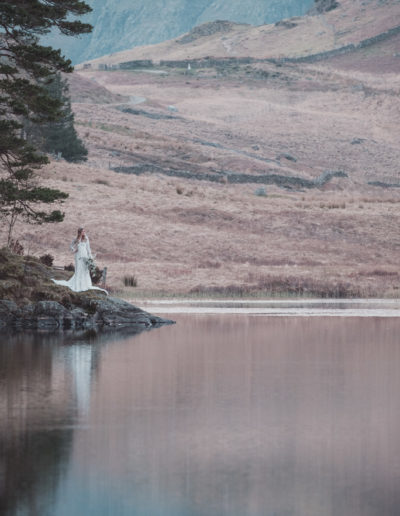 bride next to blea tarn in the lake district
